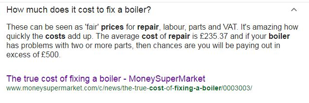 Average Price of a Boiler Repair