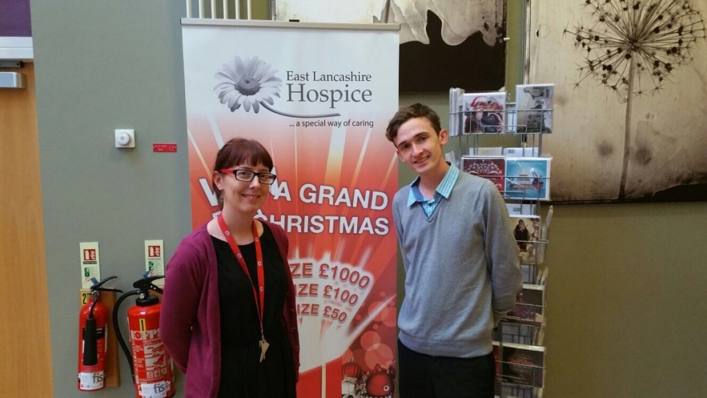 Our social media manager Luke Marsden presented East Lancashire Hospice with the £100 cheque.