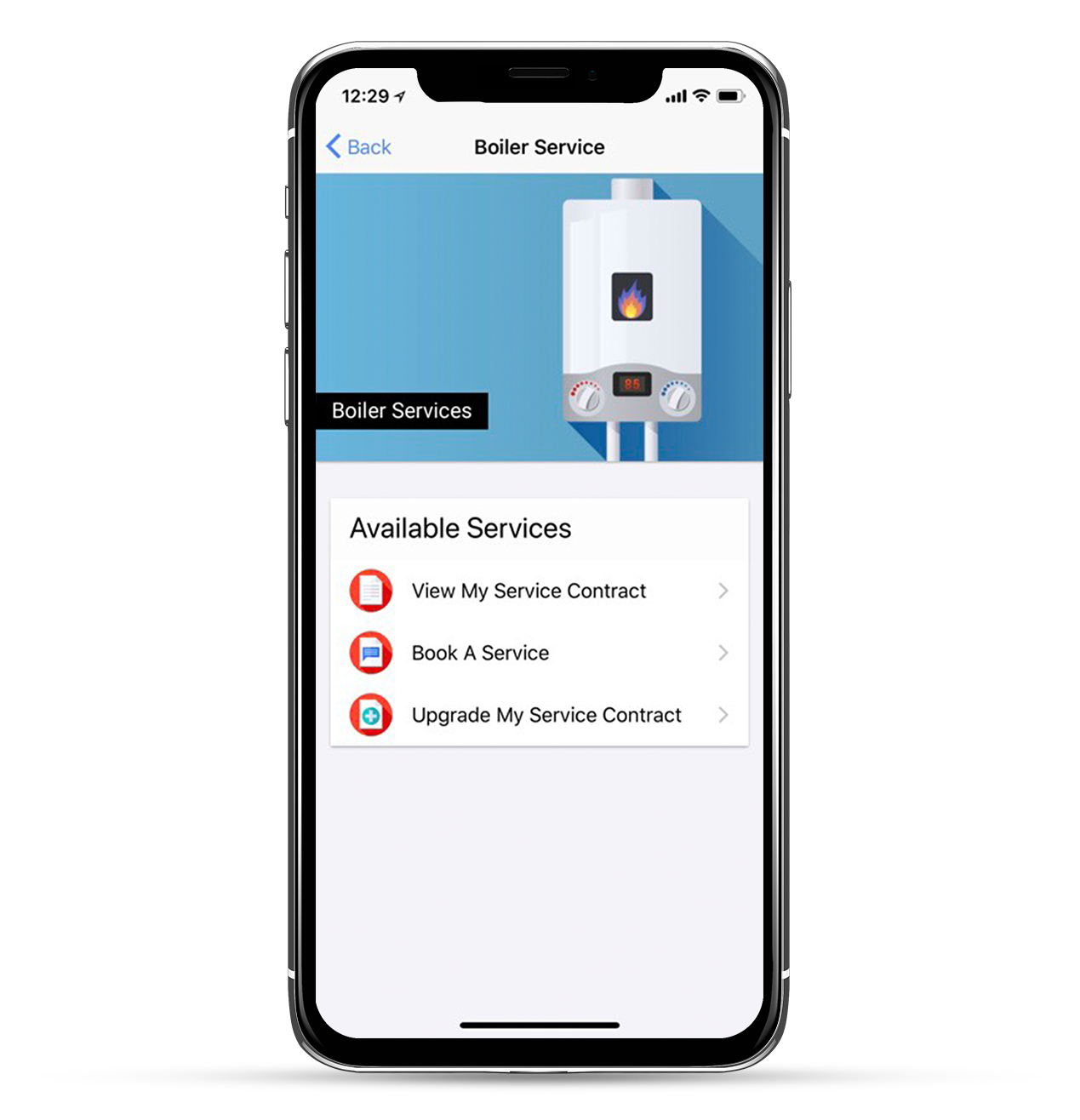 24|7 home rescue mobile app boiler services page